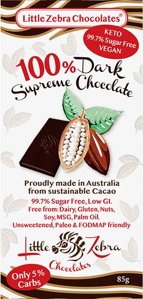 Little Zebra - 100%  Dark Supreme Chocolate - 85g from Berry Bon Bon theberrybonbon.com.au