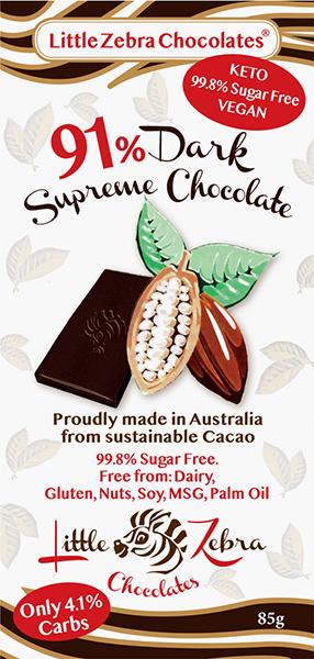 Little Zebra - 91%  Dark Supreme Chocolate - 85g from Berry Bon Bon theberrybonbon.com.au