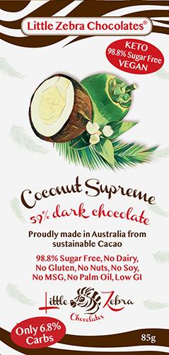 Little Zebra - Coconut Supreme 59% Dark Chocolate - 85g from Berry Bon Bon theberrybonbon.com.au