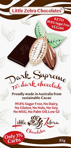 Little Zebra - Dark Supreme 72% Dark Chocolate - 85g from Berry Bon Bon theberrybonbon.com.au