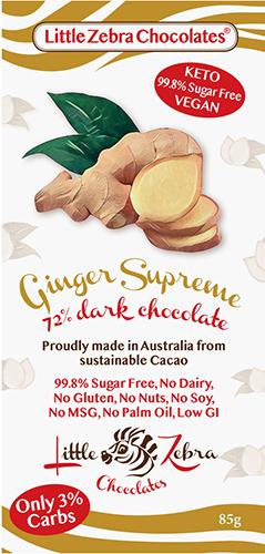 Little Zebra - Ginger Supreme 72% Dark Chocolate - 85g from Berry Bon Bon theberrybonbon.com.au