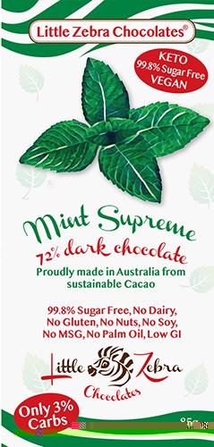 Little Zebra - Mint Supreme 72% Dark Chocolate - 85g from Berry Bon Bon theberrybonbon.com.au
